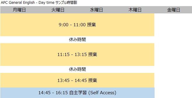 APC timetable